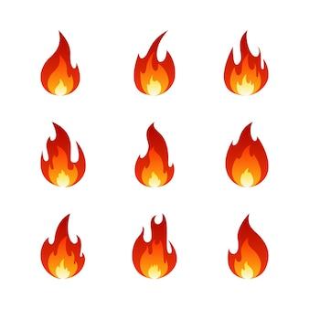 Brand vlam tekenfilm verzameling. verzameling van heet vlammend element.