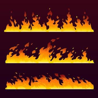 Brand vlammen muur met brandende trail vuurbal patroon