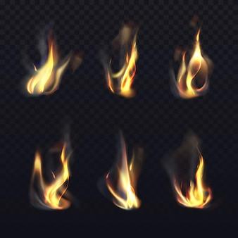 Brand vlammen op transparante achtergrond