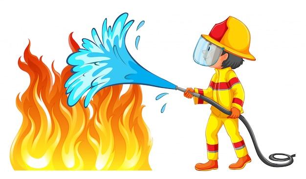 Brandbestrijder die een brand dooft