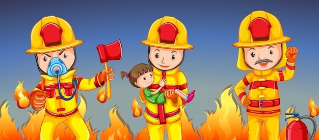 Brandbestrijder die een meisje helpt