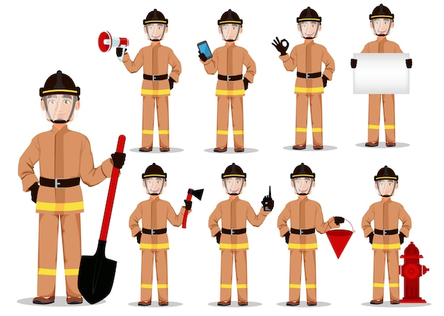 Brandbestrijder in professioneel uniform