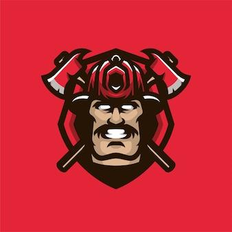 Brandbestrijder mascot hoofd sport logo