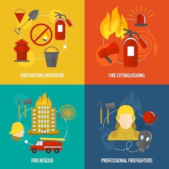 Brandbestrijding pictogrammen samenstelling