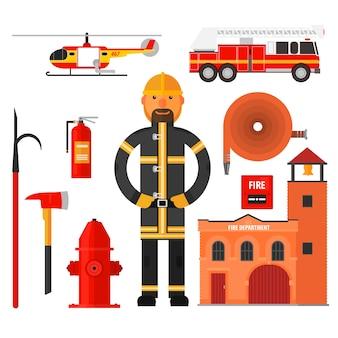 Brandbestrijdingskarakter en elementen in vlakke stijl.