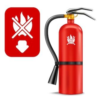 Brandblusser en teken geïsoleerd