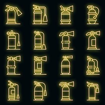Brandblusser pictogrammen instellen. overzicht set van brandblusser vector iconen neon kleur op zwart