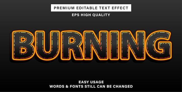 Brandend bewerkbaar teksteffect