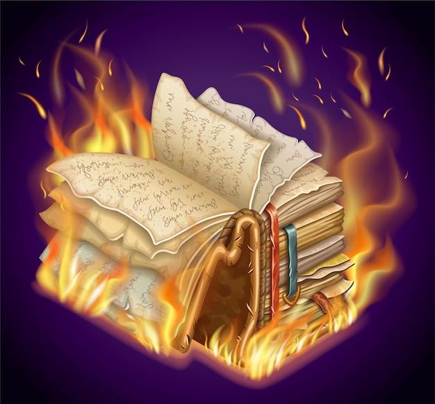 Brandend boek met magische spreuken en hekserij.