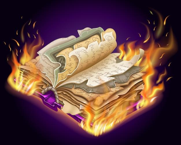 Brandend boek met spreuken en hekserij.