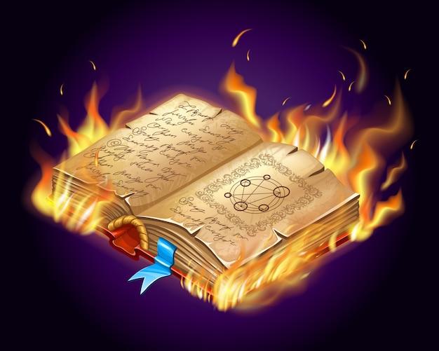 Brandend boek met toverspreuken en hekserij.