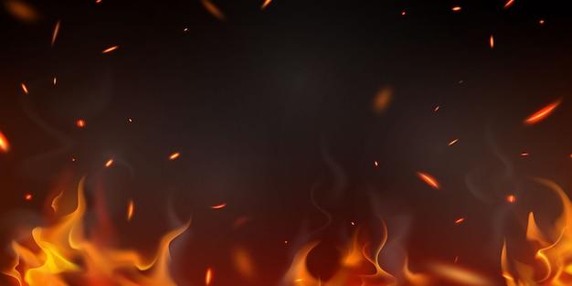 Brandend roodgloeiende vonken realistische vuurvlammen