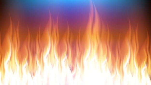 Brandend vuur met gevaarlijke vlam tongen vector. realistische decoratieve brandbare hete brandwond. glans en verwarm oranje vlammende open haard explosie. blaze power gloeiende sjabloon 3d illustratie
