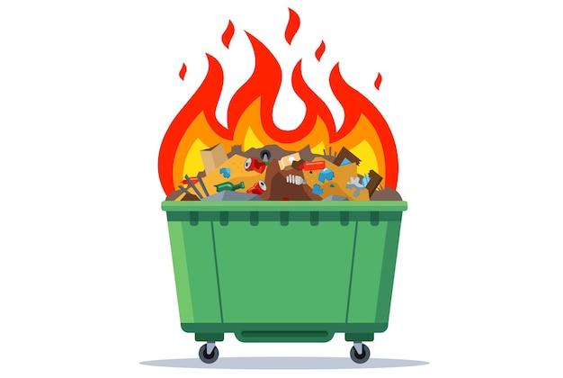 Brandende afvalbak. platte vectorillustratie. groene container