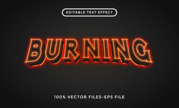 Brandende bewerkbare teksteffect premium vectoren