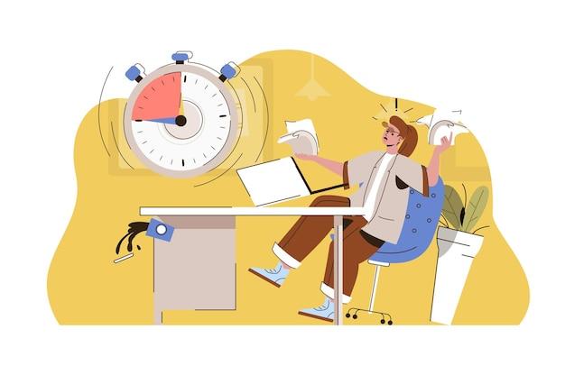 Brandende deadline web concept illustratie met platte mensen character