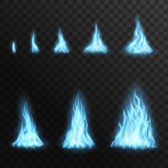 Brandende gasblauwe brandvlammen, vectorkampvuurblaze 3d effect voor animatie. affakkelen van podia van klein tot groot. realistische gloed vreugdevuur, glanzende flare ontwerpelementen geïsoleerd op transparante achtergrond
