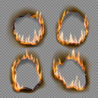 Brandende gaten, brand papiervuur met realistische verkoolde randenobjecten. vlam op blad. gebrande abstracte gaten in vuurvlammen, gescheurde randen en gescheurde frames op transparante achtergrond