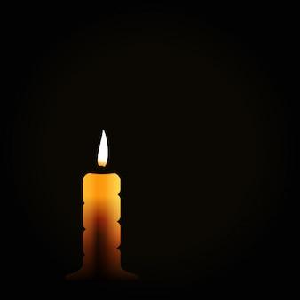 Brandende kaars op zwarte achtergrond, rouwsymbool, rouw rouw