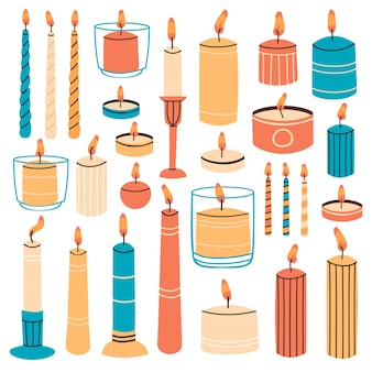 Brandende kaarsen geïsoleerd op wit