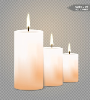 Brandende kaarsen. vlam. vakantie. kerstverlichting geïsoleerd op transparante achtergrond. illustratie