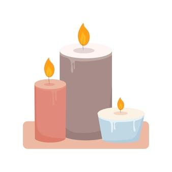 Brandende paraffine aromatische geurkaars leuke woondecoratie hygge salon aromatherapie ontwerp