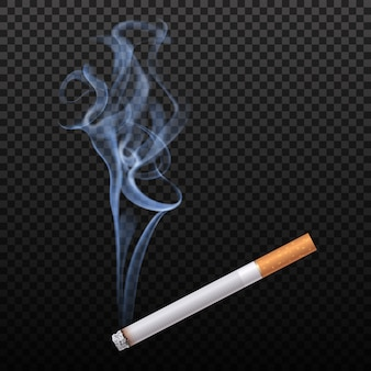 Brandende sigaret geïsoleerd