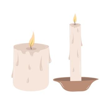Brandende vector vintage kaarsen met druppels gesmolten was