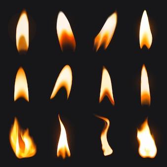 Brandende vlamsticker, realistische vectorset voor vuurafbeeldingen