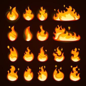 Brandende vuur cartoon vlakke stijl effect set