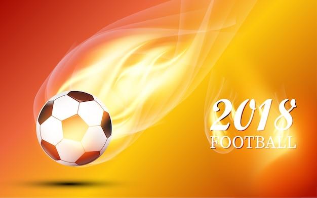 Brandende vuurbal ontwerp voetbal cup 2018