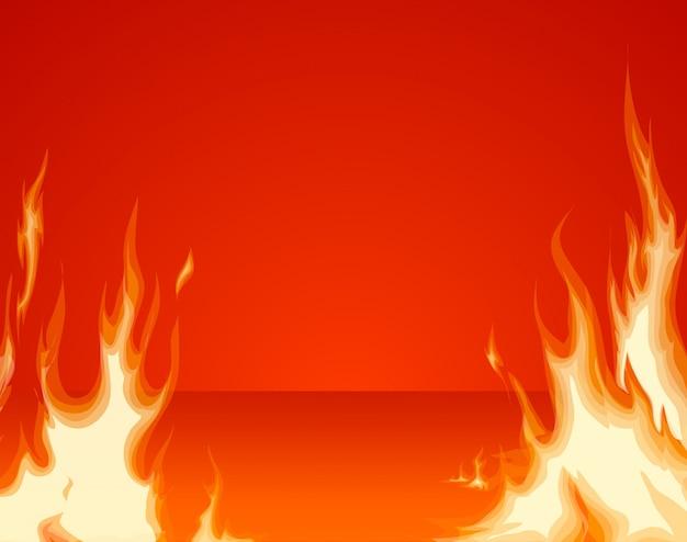 Brandende vuurfrontlaag op rode ruimteachtergrond