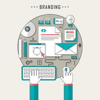 Branding concept illustratie in dunne lijnstijl