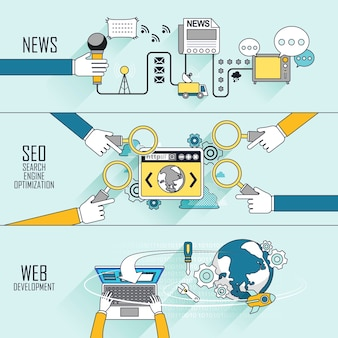 Branding concept: nieuws-seo-webontwikkeling in lijnstijl