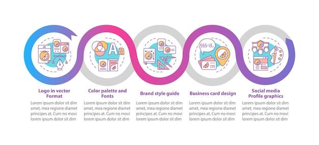 Branding diensten vector infographic sjabloon. vector logo ontwerp presentatie overzicht ontwerpelementen. datavisualisatie in 5 stappen. proces tijdlijn info grafiek. workflowlay-out met lijnpictogrammen