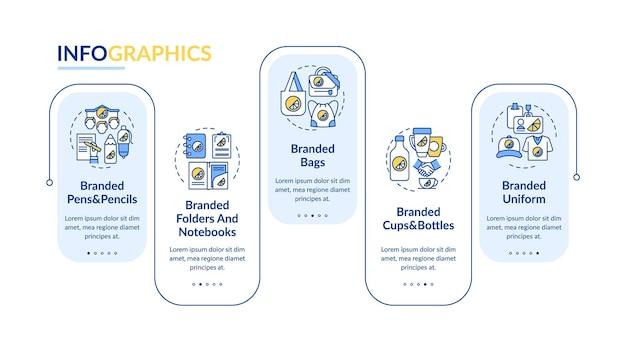 Branding materialen vector infographic sjabloon. branded uniforme presentatie schets ontwerpelementen. datavisualisatie in 5 stappen. proces tijdlijn info grafiek. workflowlay-out met lijnpictogrammen