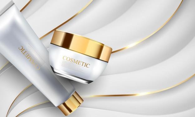 Branding producten cosmetische buis pack of cream abstracte witgouden achtergrond poster schoonheid met dynamiek.