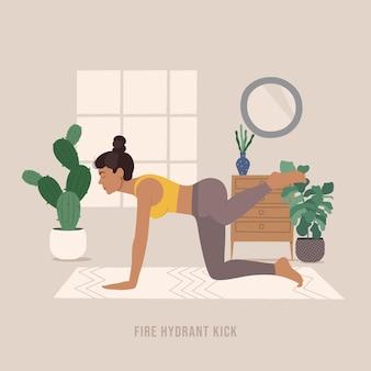 Brandkraan kick pose jonge vrouw die yoga pose beoefent
