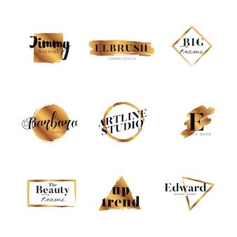 Brandmerkende gouden penseellogo type designcollectie