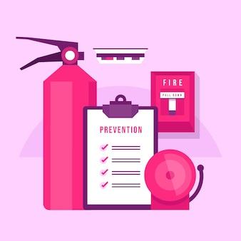 Brandpreventie artikelen met plat ontwerp