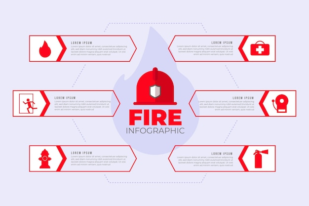 Brandpreventie infographic plat ontwerp