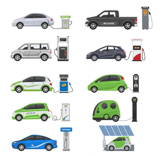 Brandstof alternatieve voertuig vector team-auto of gas-truck en zonne-bestelwagen of benzine elektriciteit station illustratie set