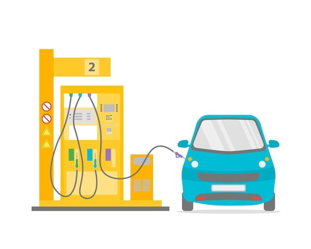 Brandstof benzinestation pomp en blauwe auto platte ontwerpstijl. transportsector.