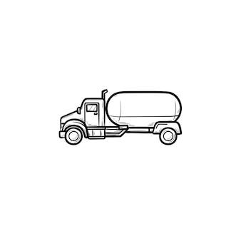 Brandstof vrachtwagen hand getrokken schets doodle pictogram. tankwagen, benzinestation en brandstoflevering, stortbakconcept