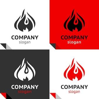 Brandvlammen nieuwe set, vier varianten voor uw logo