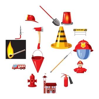 Brandweer iconen set, cartoon stijl
