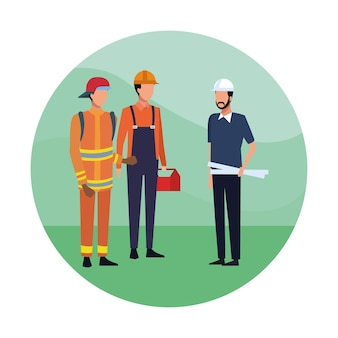 Brandweerlieden en architect