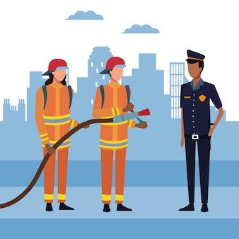 Brandweerlieden in de stad