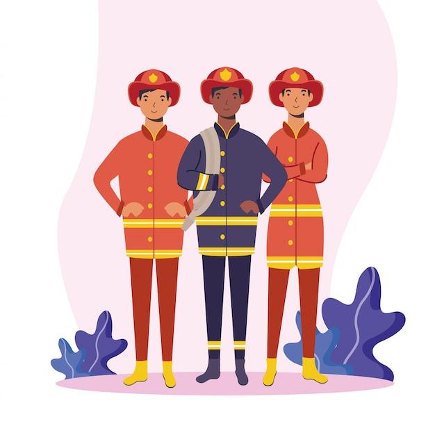 Brandweerlieden mannen arbeiders ontwerpen
