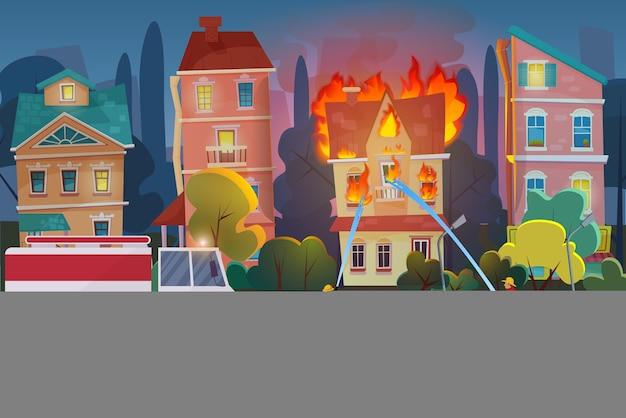 Brandweerlieden met motorbrandweerwagen blussen burgerlijk huis in de stad